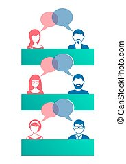 Man and woman dialog icons - Man and woman icons with dialog...