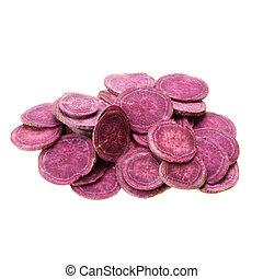 purple sweet potato - pieces of fresh purple sweet potato...