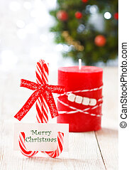 Christmas place setting - Congratulatory card on candy cane...