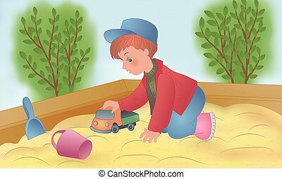 The child is played in a sandbox with toys