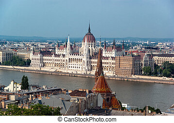 Budapest Parliament and river Danube, Hungary