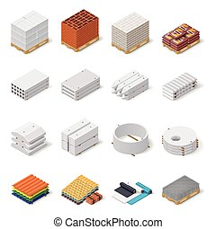 Construction materials isometric icon set, concrete...
