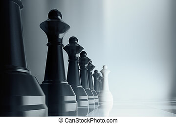 Competion concept with black and white pawns