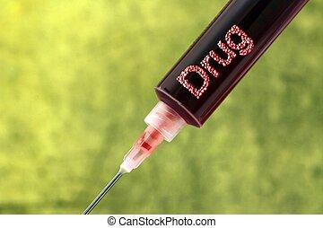 Drug addiction syringe concept