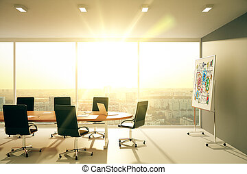 Modern conference room with blackboard at sunset