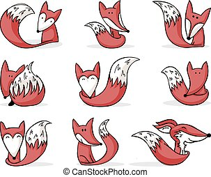 cartoon foxes - nine cute hand-drawn cartoon foxes