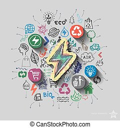 Electricity emblem Environment collage with icons background...