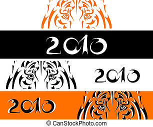 Tiger banners, symbol 2010 new year