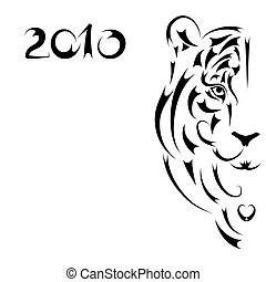 Tiger stylized silhouette, symbol 2010 year