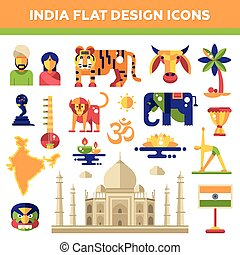 Set of flat design India travel icons and infographics elements with landmarks, famous Indian symbols
