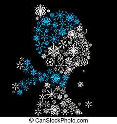Stylized woman head, winter season. - Stylized woman head,...
