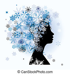 Stylized woman hairstyle Winter season