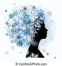 Stylized woman hairstyle. Winter season