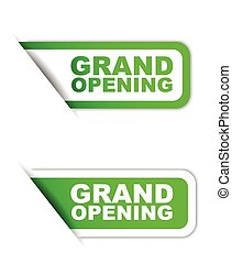 green vector paper element sticker grand opening in two...