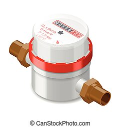 Water meter isometric icon vector grasphic illustration