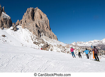 Skiing area in the Dolomites Alps. Italy - Skiing area in...