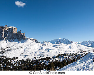 Skiing area in the Dolomites Alps Italy - Skiing area in the...