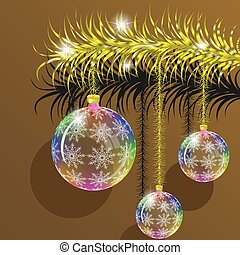Golden branch of fir tree with transparent Christmas toys