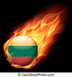 Round glossy icon of Lithuania - Flag of Lithuania as round...