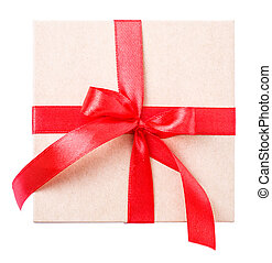 box red bow Isolated on white background Clipping Path