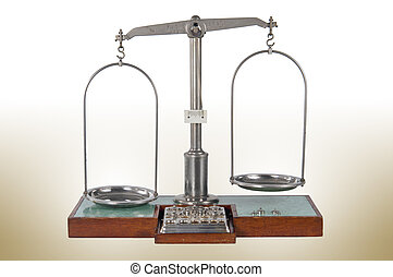 Traditional unbalanced pharmacy scale - Traditional old...
