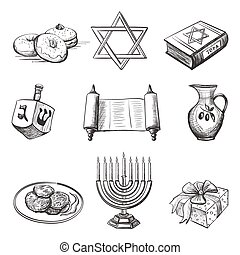 Illustration set of element for hanukkah - Illustration of...