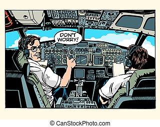 Aircraft cockpit pilots airplane captain pop art retro...