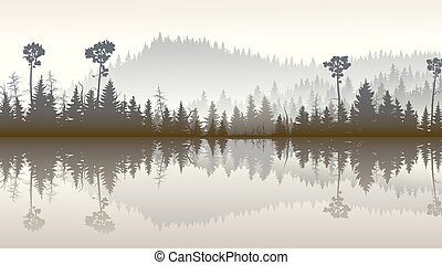 Forest hills with lake. - Horizontal illustration morning...