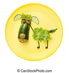 divertido, vegetal, perro, en, amarillo, placa,