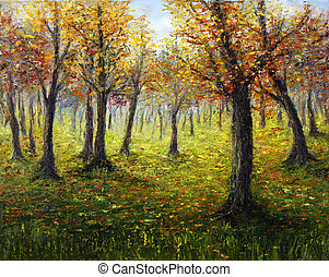 Autumn forest - Original oil painting showing beautiful...