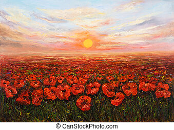 Flower fields - Original oil painting of Opium poppy Papaver...