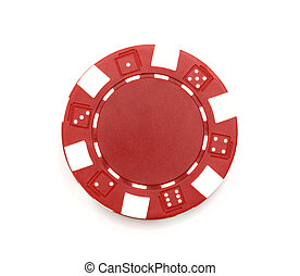Red poker chip isolated on white