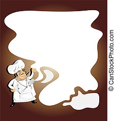 Chef with note pad,menu