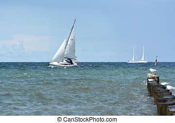 Sailboat on the Baltic coast at Heiligendamm in Germany