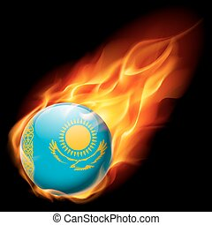 Round glossy icon of Kazakhstan - Flag of Kazakhstan as...