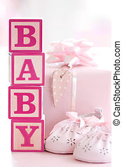 rosa, bambino, blocchi, costruzione