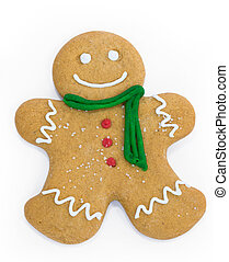 Gingerbread man - Smiling gingerbread man with scarf and...