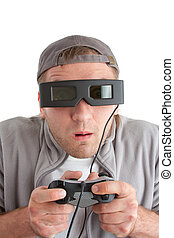 Surprised player with joystick and 3-D glasses. Isolated on...