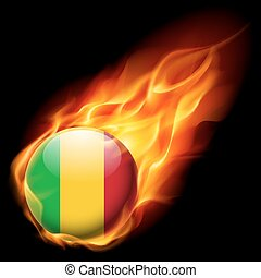 Round glossy icon of Mali - Flag of Mali as round glossy...