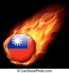 Round glossy icon of Taiwan - Flag of Taiwan as round glossy...