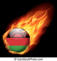 Round glossy icon of Malawi