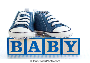 Baby building blocks - Baby blocks with denim baby shoes