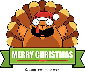 Cartoon Turkey Christmas Banner