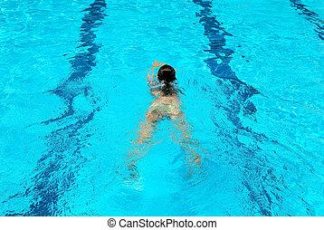 Swimming girl - Young girl swimming in sports swimming pool