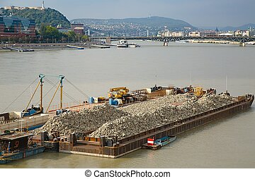 Barges - Cargo transportation on the river Danube