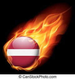 Round glossy icon of Latvia - Flag of Latvia as round glossy...