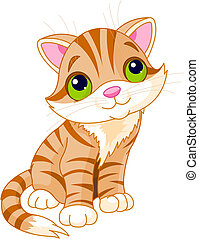 Very Cute kitten with green eyes. Vector illustration