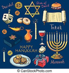 Hanukkah traditional jewish holiday symbols set - Hanukah,...