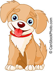 Cute puppy - Vector illustration of a cute puppy wearing a...
