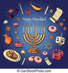Happy Hanukkah holiday greeting background - Hanukah, Purim,...